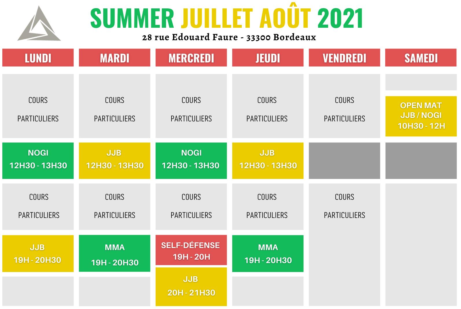 horaires mma jjb bordeaux 2021